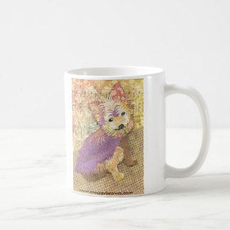 Custom pet portrait collage of Yorkie, Alice Mug. Coffee Mug