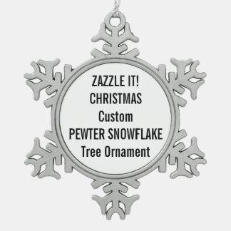 Custom Pewter Snowflake Christmas Tree Ornament