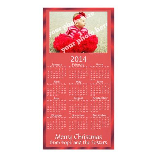 Custom Photo 2014 Calendar Christmas Card Red Photo Card
