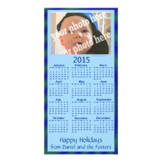 Custom Photo 2015 Calendar Holiday Card Blue Photo Cards