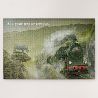 Custom photo, a rhinoceros watching a steam train, jigsaw puzzle