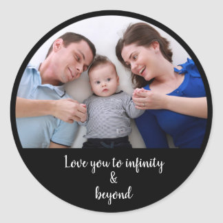 Custom photo and add your text template classic round sticker