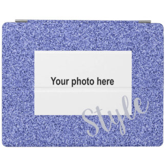 Custom photo and text on blue faux glitter iPad cover
