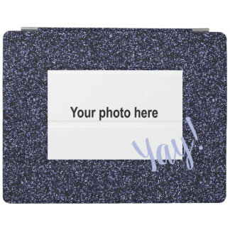 Custom photo and  text on dark blue faux glitter iPad cover