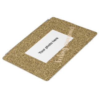 Custom photo and text on gold faux glitter iPad cover