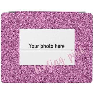 Custom photo and text on pink faux glitter iPad cover