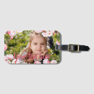 Custom Photo and Text Pink Cherry Blossoms Border Luggage Tag