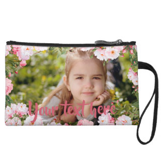 Custom Photo and Text Pink Cherry Blossoms Border Wristlet