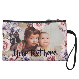 Custom Photo and Text Pink Roses Border Wristlet