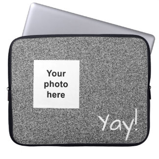 Custom photo and text silver grey faux glitter laptop sleeve