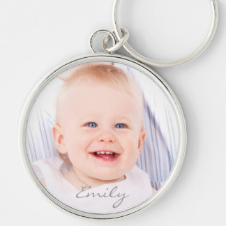 Custom photo baby girl name personalized keychain