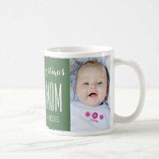 Custom Photo Best Mom Christmas Mug Green