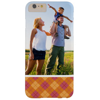 Custom Photo Bias Plaid in Orange and Pink Barely There iPhone 6 Plus Case