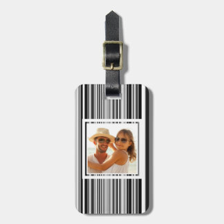 Custom Photo Black And White Lines Bag Tag