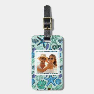 Custom Photo Blue Seashells & Starfish Pattern Bag Tag