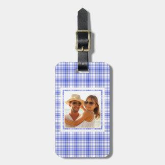 Custom Photo Blue White Plaid 2 Luggage Tag
