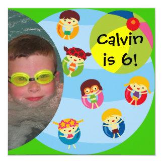 Custom Photo Boy Pool Party Swimming Birthday Card