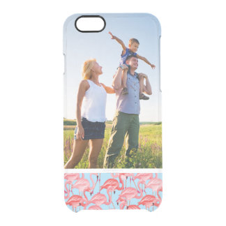 Custom Photo Bright Pink Flamingos On Blue Clear iPhone 6/6S Case