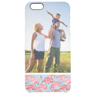 Custom Photo Bright Pink Flamingos On Blue Clear iPhone 6 Plus Case