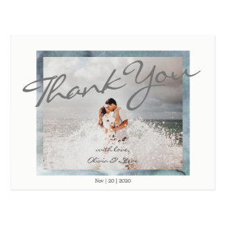 Custom Photo Calligraphy Script Wedding Postcard