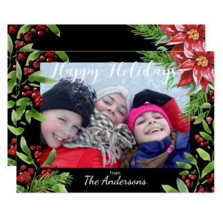 """Custom Photo Card with Holiday Watercolor Floral 5"""" X 7"""" Invitation Card"""