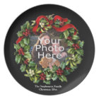 Custom Photo Christmas Holiday Wreath Plate