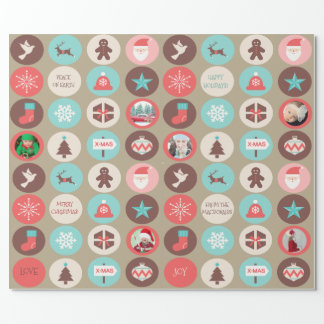 Custom Photo Christmas Icons Small Medallions Wrapping Paper