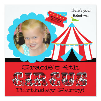 Custom Photo Circus Ticket Birthday Invitation
