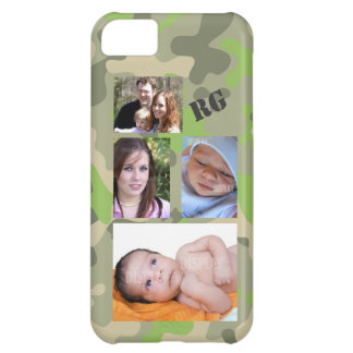 Custom Photo Collage Camo Pattern Customizable Cover For iPhone 5C