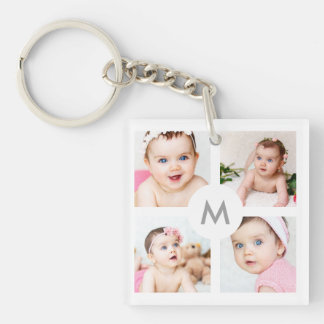 Custom Photo Collage Monogram White 4 Images Keychain