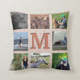 Custom Photo Collage | Rose Gold Confetti Dots Throw Pillow