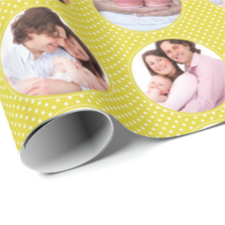 Custom Photo Collage Yellow Polka Dot Wrapping Paper