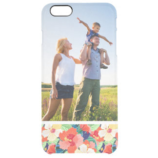 Custom Photo Colorful Hibiscus Pattern Clear iPhone 6 Plus Case