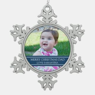 Custom Photo Dad Christmas Ornament Blue