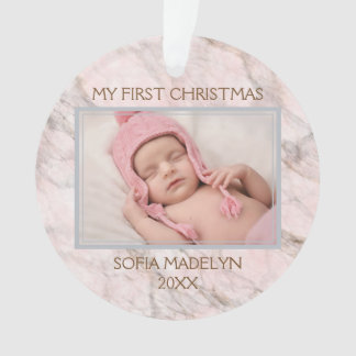 Custom Photo Elegant Pink Gray Marble Pattern Ornament