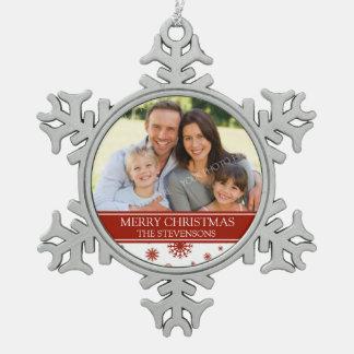 Custom Photo Family Christmas Ornament Red
