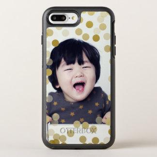 Custom Photo & Faux Gold Confetti OtterBox Symmetry iPhone 7 Plus Case