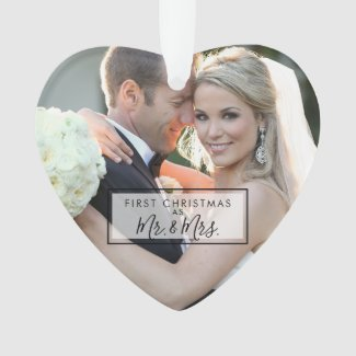 Custom Photo First Christmas as Mr and Mrs Heart Ornament