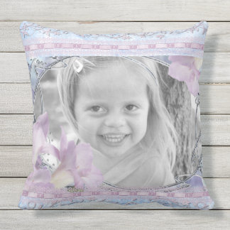 Custom Photo Frame Lilac Lilies Victorian Floral Throw Pillow