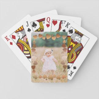 Custom Photo Frame Metallic Hearts Playing Cards