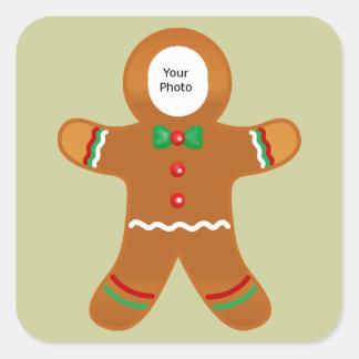 Custom Photo Gingerbread Man Christmas Square Sticker