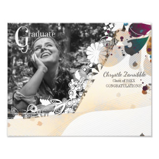 Custom photo graduate graduation abstract flowers