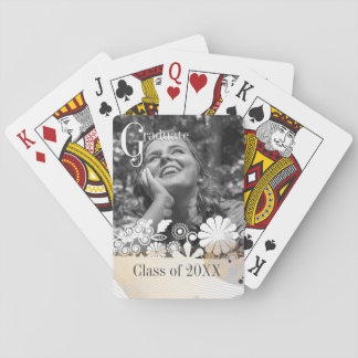 Custom photo graduate graduation abstract flowers playing cards