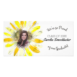 Custom photo graduation graduate sunflower customized photo card
