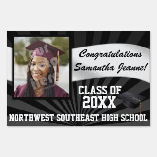 Custom Photo Graduation Yard Sign, Black Sign