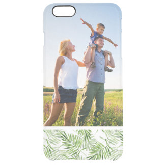 Custom Photo Green Palm Leaves Clear iPhone 6 Plus Case