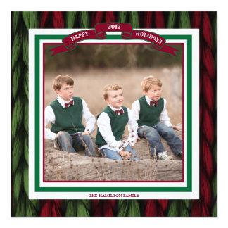 Custom Photo Happy Holidays Knit Red and Green Card