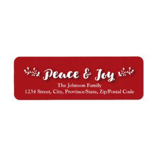 Custom photo horizontal Holiday- Peace & Joy - Red Return Address Label