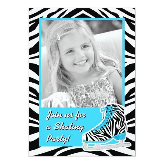Custom Photo Ice Skating Blue Zebra Birthday Party Card