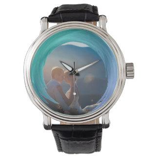 Custom Photo Instagram | Trendy Turquoise Splash Wristwatches